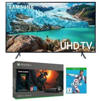 Samsung 55 UltraHD Fernseher + Xbox One X 1TB + Tombraider + FIFA 19 ab 799,95€ (statt 1.033€)